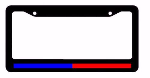 Support Police & Firefighter Blue Red Reflective Line Black License ...