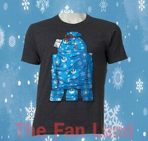 New Star Wars Christmas Gift Wrapped R2-D2 Mens T-Shirt