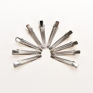 50pcs-Silver-Flat-Metal-Single-Prong-Alligator-Hair-Clip-Barrette-Bows-DIY-B-Fy