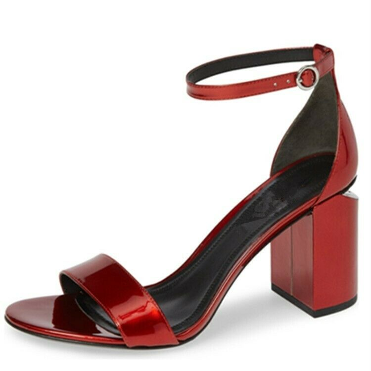 Womens Patent Leather Strap Buckle Block Heels shoes Slingback Sandals Summer
