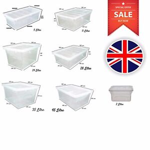 Clear-Stackable-Storage-Boxes-Plastic-Containers-Underbed-Box-with-Lid-UK-Made