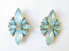 Turquoise Green Blue Silver Faux Opal Earrings Stud Art Deco Vtg 1920s Drop 1127
