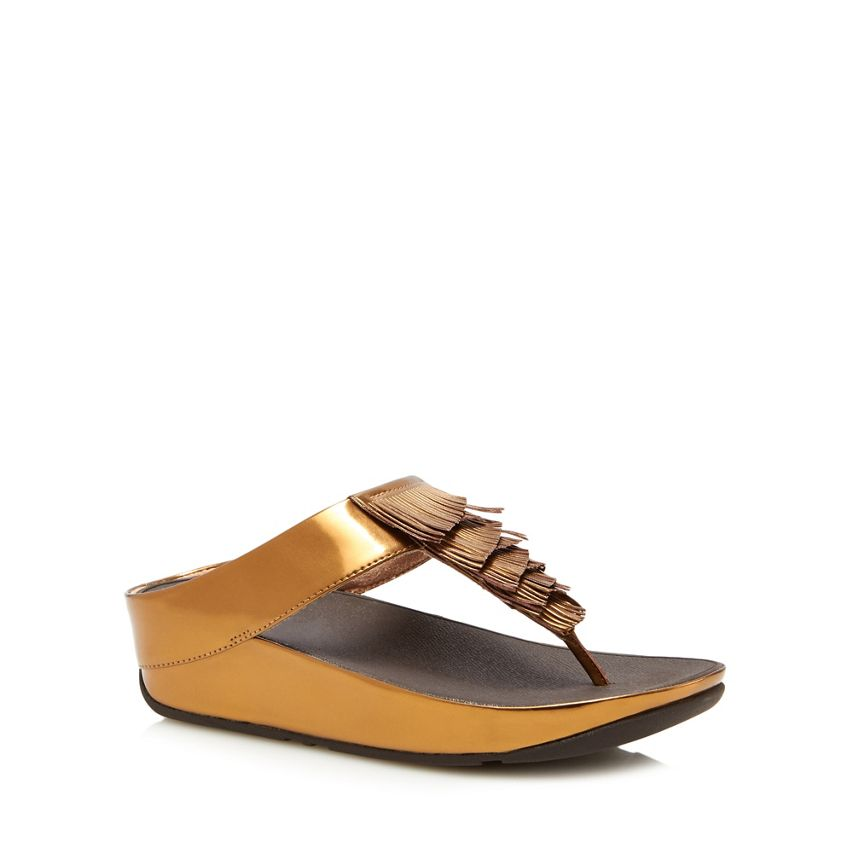 BNIB Fit Flop Bronze Leather Flat Wedge Heel Toe Post Comfy Fitness Sandals Sz 5