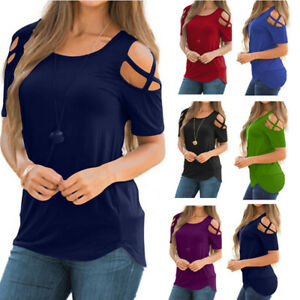 Women-Summer-Blouse-Tops-Short-Sleeve-Solid-Plus-Size-Sexy-Cold-Shoulder-T-Shirt