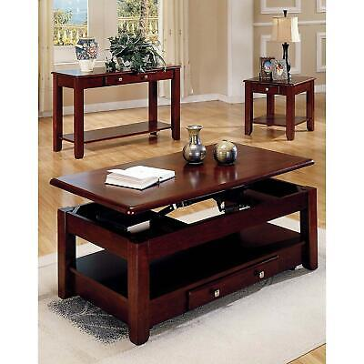 Logan Cherry Solid Wood Lift Top Coffee Table W Storage And