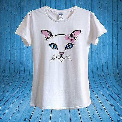 Cute Cat Pink Bow Kawaii Kitty Love Cats T-shirt 100/% Cotton unisex women