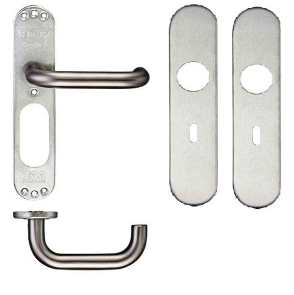 Satin Stainless D Shaped Lever Door Handles on Radius Lock Plate