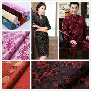 Chinese-Silk-Satin-Floral-Fabric-Tang-Suit-Costume-Cheongsam-Dress-By-Metre