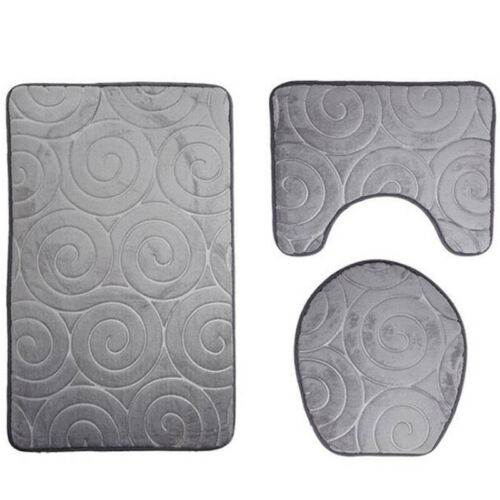 3Pcs Set Pattern Bathroom Non-Slip Pedestal Rug Lid Toilet Cover Carpet Mat