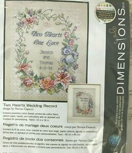 Dimensions Needlecrafts Stamped Cross Stitch Two Hearts Wedding Record