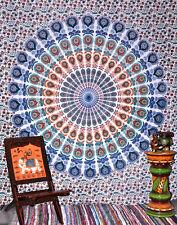 Peacock Indian Mandala Tapestry Cotton Flat Sheet Hippie Gypsy Bohemian Spread