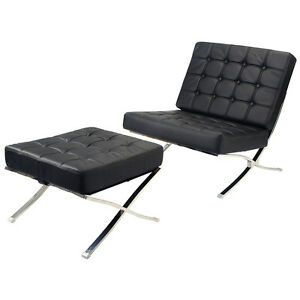 Barcelona style modern pavilion chair ottoman black seat for Barcelona chaise