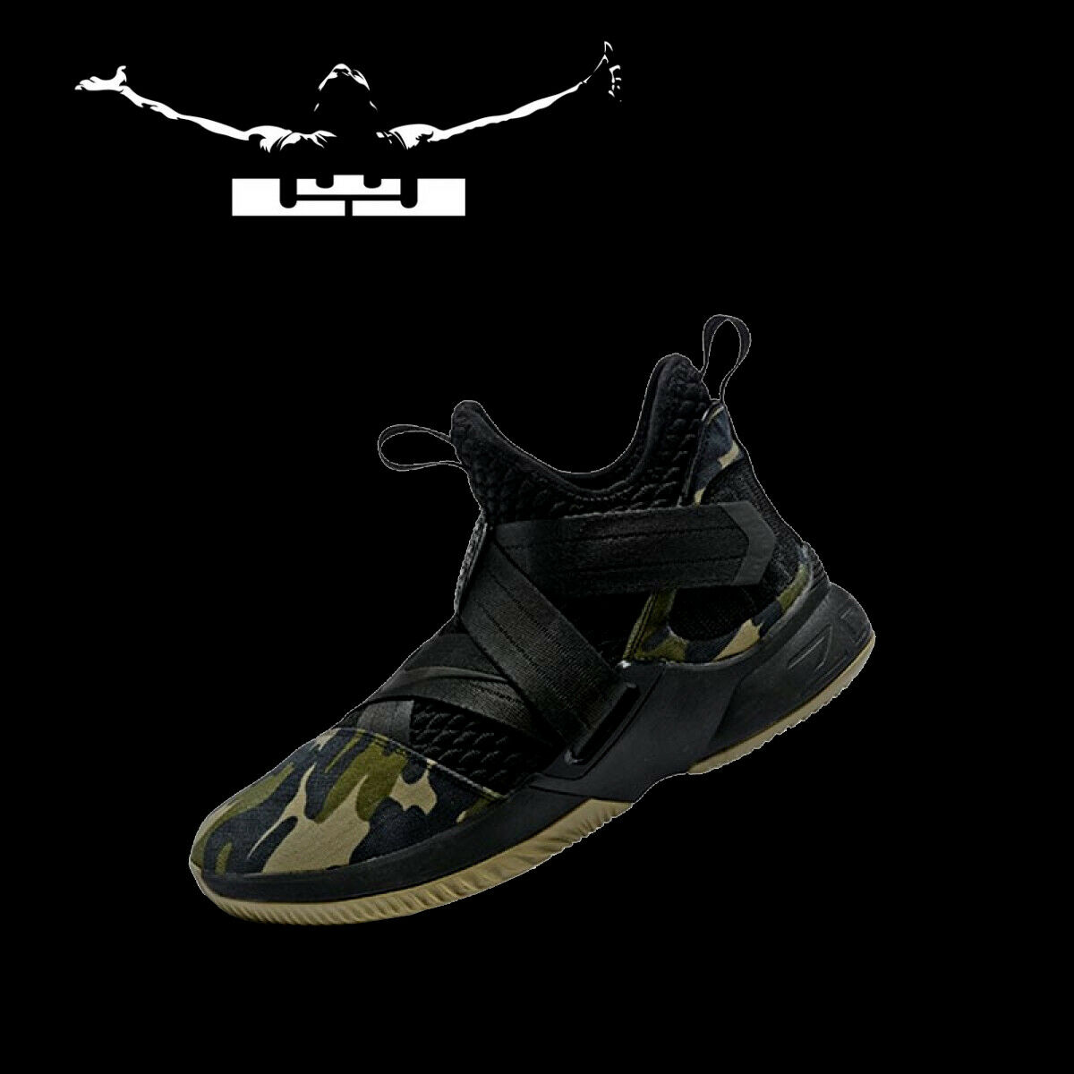 hommes NIKE LEBRON SOLDIER XII 12 TM  Camouflage  Baskets Chaussures armée AO4054-001 11.5