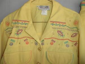 Giallo Skirt Jeans impreziositi Top 3 ricamati Pc Set Girl Denim Jacket City H8qTA7z