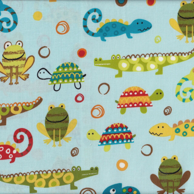Creatures & Critters Frogs Turtle Kids Boys Girls Quilt Fabric FQ or Metre NEW