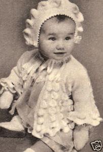 Vintage Knitting Pattern To Make Baby Bonnet Hat Sacque