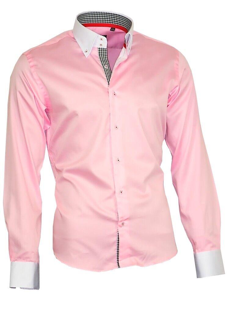 Uomo Camicia Uomo Camicia Raso Cotone Cotone Cotone BINDER de LUXE MANICA LUNGA rosa 80808 SHIRT fecaea