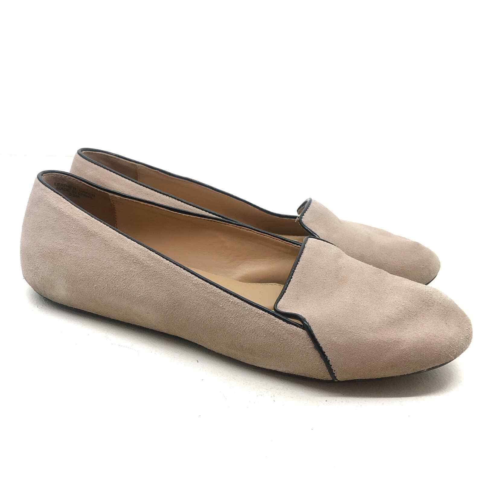 Talbots nude suede loafers with black trim flats round toe black trim 9.5