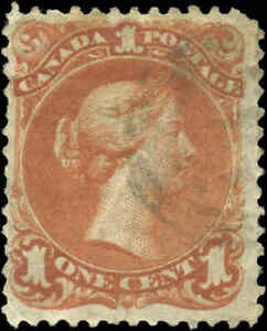 1868-Used-Canada-F-Scott-22-1c-Large-Queen-Issue-Stamp