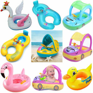 Sunshade-Baby-Kids-Float-Seat-Boat-Inflatable-Swim-Swimming-Ring-Pool-Water-Fun