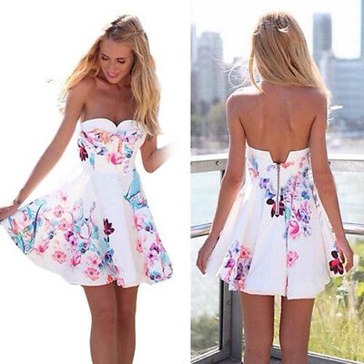 New Sexy Womens Sleeveless Summer Floral Beach Party Evening Cocktail Mini Dress