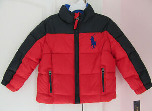 NWT Ralph Lauren Polo Boys Big Pony Ripstop Trek Red Jacket Coat Sz 5 NEW $175