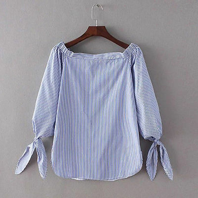 Women's Summer Off Shoulder T-shirt  Loose Cotton Blouse Casual Tops Stylish