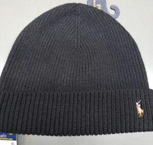 4907ec6db32 POLO Ralph Lauren Men s BLACK Cuffed Ribbed Beanie Hat W Pony Logo ...