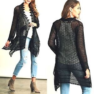 a2f7cbb686f Umgee Top Size XL S M L Black Cardigan Lace Tunic Free Boho People ...