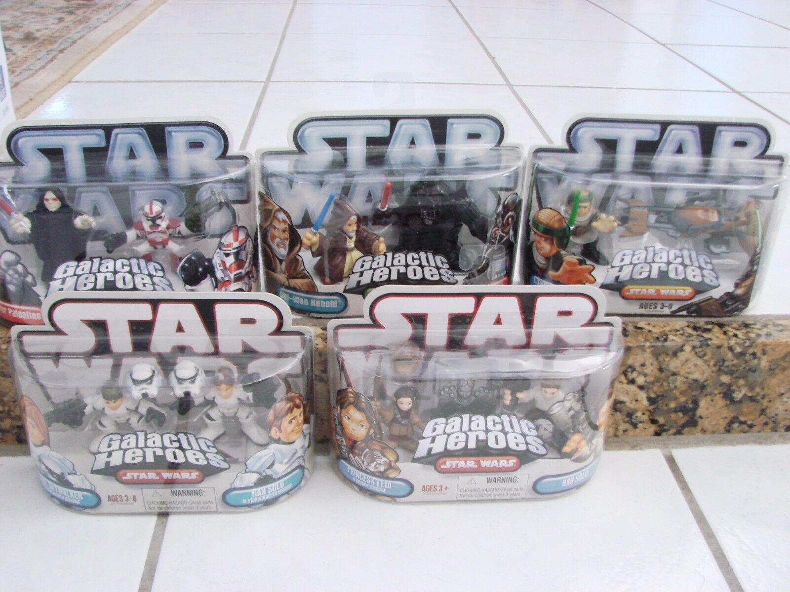Star Wars Galactic Heroes Lote de 5 paquetes de dos Leia & solo, Vader, Palpatine Hans