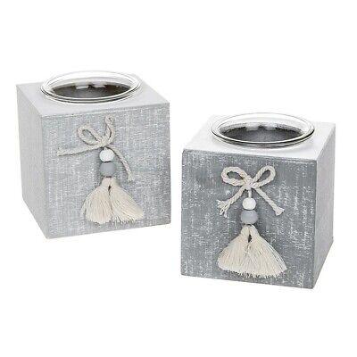 Shabby Chic Provence Cool Gris en bois unique Bougie Tea Light Holder Cadeau
