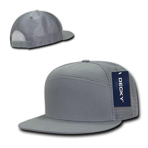 a890a1d71 Grey Solid Blank Plain 7 Panel Flat Bill Mesh Trucker Baseball Gray Ball  Cap Hat