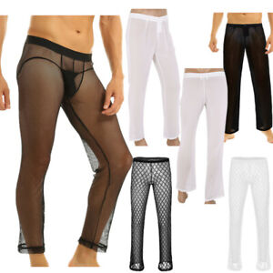 Mens-Sheer-Mesh-Net-Transparent-Long-Pants-Yoga-Sports-Lounge-Trousers-Underwear