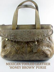 Image is loading Guadalajara-Mexican-Hand-Tooled-Leather-034-HONEY-BROWN- 71ef48bbf6