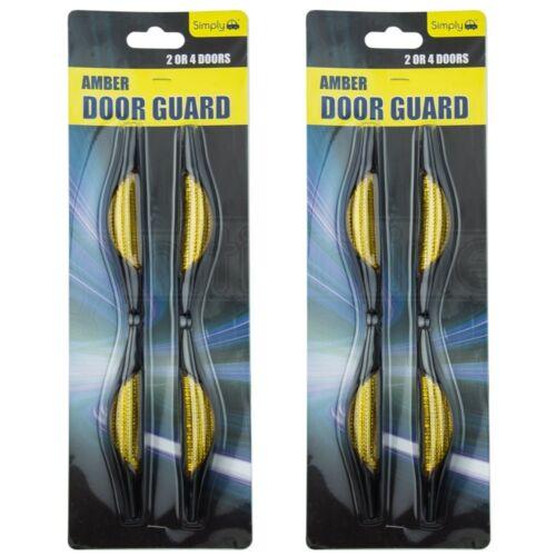 2x Amber Car Door Protectors Reflectors Door Guards Scratches Protect Edges