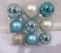 Coastal Collection Christmas Mini Glass Ball Aqua Silver Ornaments 1.5 Set Of 9