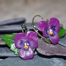Pansy Earrings - Handmade Artisan Polymer Clay, Flowers, Gift