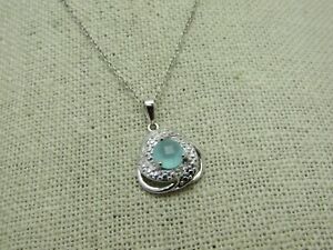 Sterling-Silver-Aqua-Chalcedony-Necklace-Simulated-18-034-2-71-Gr-Kohl-039-s-in-box