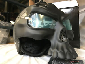 1STorm-DOT-Motorcycle-Bike-Sun-Dual-Visor-Open-Face-Helmet-3D-Skull