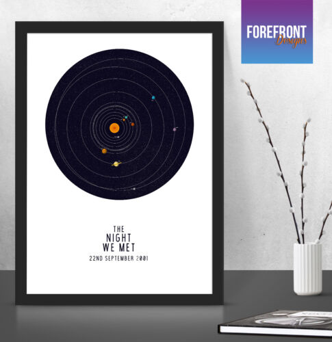 Personalised Solar System Planet Map The night we met special night sky gift