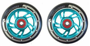 Pair Black Pu Blue Swirl Core Wheels 100mm Stunt Scooter ABEC11 Kid Stunt Alloy