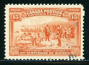 CANADA-Used-Selections-Scott-102-15c-Red-Orange-QUEBEC-Tercentenary-CV-160