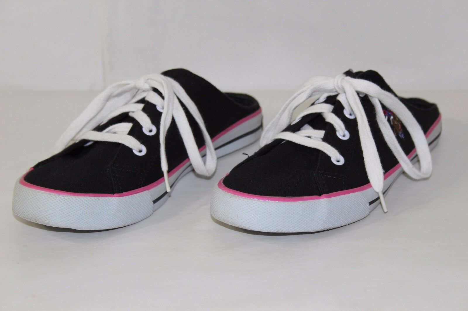 US 8 Polo Assn Womens Sz 8 US M Black White Pink Canvas Laces Low Heel Athletic Shoes b7d634