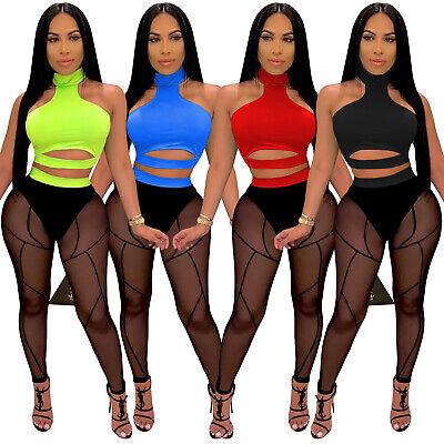 NEW Women Mock Neck Long Sleeve Side Patchwork Bodycon Clubwear Sport Jumpsuit