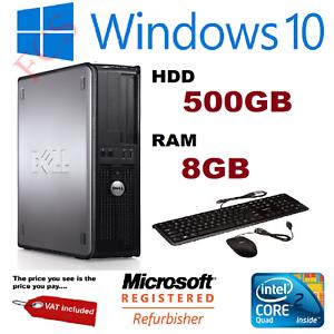 Rapide-Dell-Quad-Core-Ordinateur-PC-De-Bureau-Tour-Windows-10-Wi-Fi-8-Go-RAM-500-Go-Disque-dur