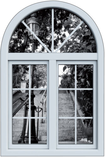 Stickers fenêtre trompe l/'oeil escalier Paris réf 6256