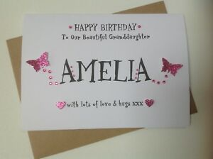 Image Is Loading Handmade 1st Birthday Personalised Card Daughter Granddaughter Goddaughter