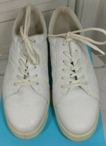 9, Euro 42, White Leather, Tennis Shoes