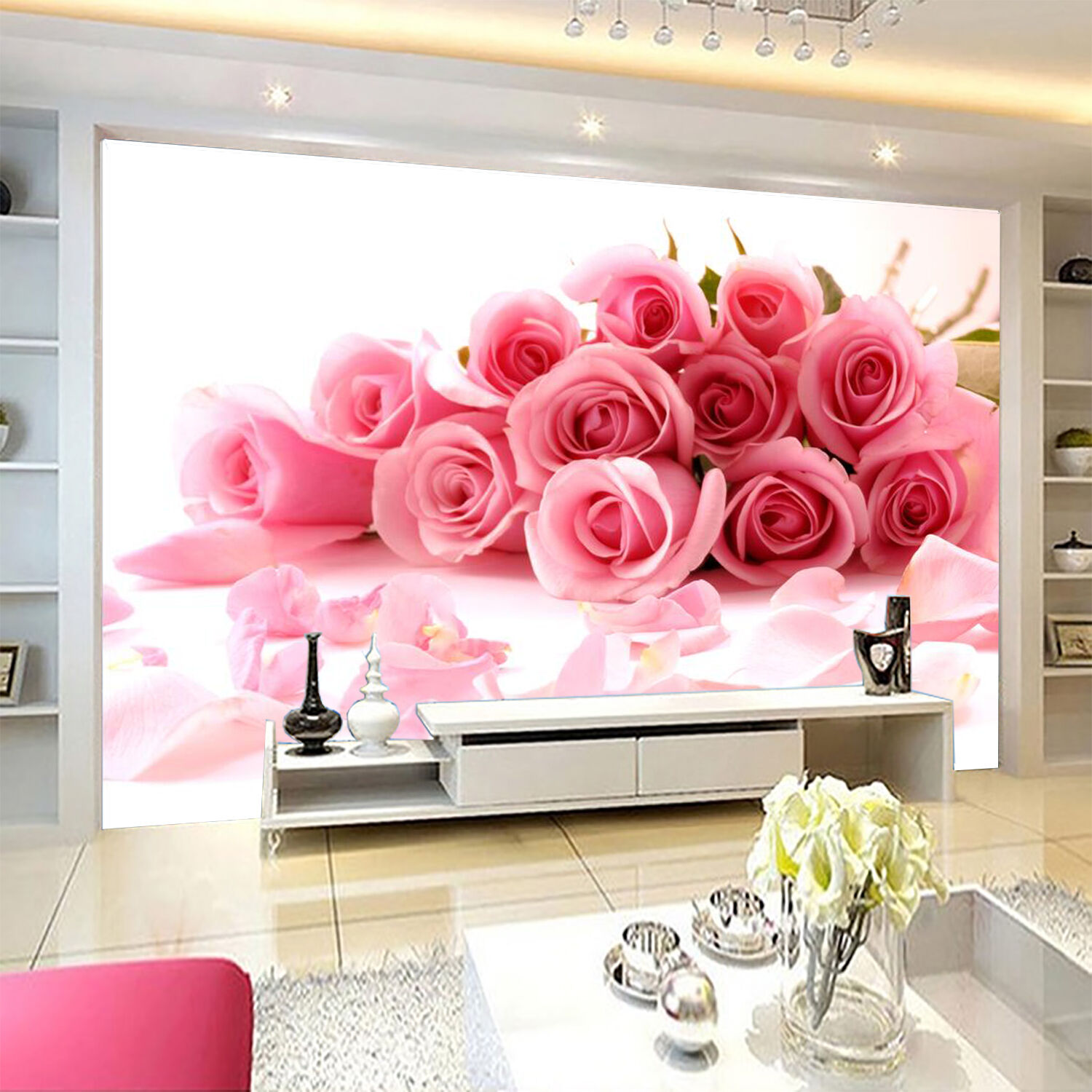 3D Bouquet fresh Pink photo Wall Paper Print Decal Wall Deco Indoor wall Mural