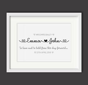 Personalised-Wedding-Engagement-imprimer-M-et-Mme-Cadeau-Present-noms